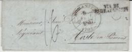 USED LETTER 01/01/1847 ROMANENGO COSTE EN PIEMONT GRIFFE VIA DI .... - ...-1850 Préphilatélie