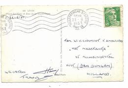 .MARIANNE DE GANDON  SEUL SUR CARTE  POUR ENVOI EN HOLLANDE.......DEPART DE VILLEFRANCHE SUR SAONE 1953 - Poststempel (Briefe)