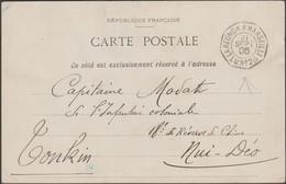 Réunion 1906. Carte De Diego-Suarez Au Tonkin. Un Crétin A Enlevé Le Timbre Au Verso. Cachet Maritime Splendide - Réunion (1852-1975)
