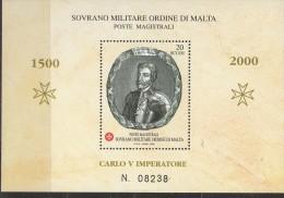PIA - SMOM - 2000 : V°  Centenario  Della  Nascita  Dell' Imperatore  Carlo  V° - (UN  Bf 61) - Sovrano Militare Ordine Di Malta