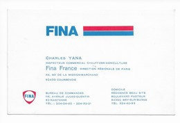 Carte De Visite  FINA Inspecteur Commercial Charles YANA - Cartoncini Da Visita