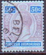 British Honduras 1913 SG #107 50c Used Wmk Mult.Crown CA CV £15.00 - British Honduras (...-1970)