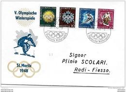 76 - 42 - Enveloppe Suisse Avec Série Jeux Olympiques St Moritz Et Oblit Spéciale 1948 - Winter 1948: St. Moritz