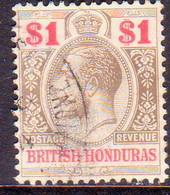 British Honduras 1913 SG #108 $1 Used Wmk Mult.Crown CA CV £70.00 - British Honduras (...-1970)
