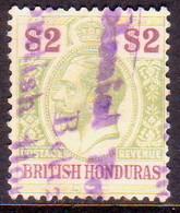 British Honduras 1913 SG #109 $2 Used Wmk Mult.Crown CA CV £130.00 Fiscal Cancellation - British Honduras (...-1970)