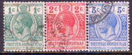 British Honduras 1915-16 SG #111-13 Compl.set Used Optd With Moire Pattern CV £31.00+ - British Honduras (...-1970)