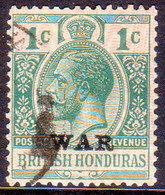 British Honduras 1916 SG #114 1c Used Optd With Moire Pattern And WAR - British Honduras (...-1970)