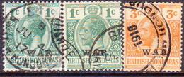 British Honduras 1917-18 SG #116,a,118 1c(both Shades),3c Used CV £31 - British Honduras (...-1970)
