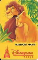 PASS--DISNEY-DISNEYLAND PARIS-1996-ROI LION ADULTE- Souligné-V°S089411-Haut A Droite-I-D-F-Val 1 JOUR 10/04/95-TBE-Rare - Toegangsticket Disney