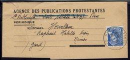 Fr - 1941 - Agence Des Publications Protestantes Pau - Timbre Mercure 407 Seul Sur Bande De Journal Pour Nîmes - B/TB - - 1921-1960: Periodo Moderno