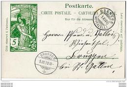 """41 - 16  -  Entier Postal UPU Avec Cachets à Date """"Oberegg Et Bruggen"""" 1900 - Entiers Postaux"""