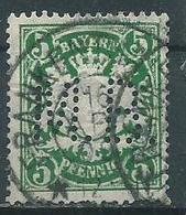 Timbre Bavière 5 Pf Vert Perforé MB - Bavière