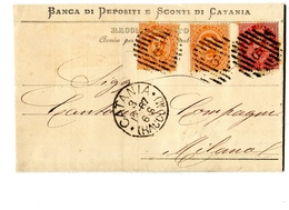 STORIA POSTALE-REGNO D'ITALIA-RE UMBERTO-2 Da 20-1 Da 10 Cent.-1887-BANCA DI DEPOSITI E SCONTI DI CATANIA - Poste