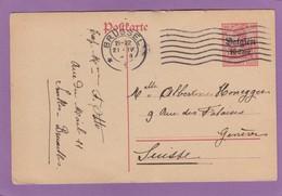 BELGIEN:GANZSACHE VON BRUSSEL NACH DEN GENF. - Occupation 1914-18