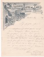 Fattura Comm.  -  Grand Hotel De Saxe , Bruxelles  -  Edit. Gouweloos, Bruxelles  -  Formato  Cm. 21  X  27 - Sport & Turismo