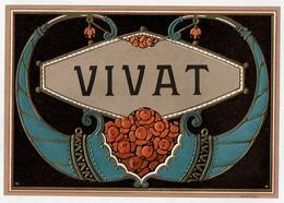 Cigar Box Label / Ancienne étiquette Boite De Cigares Gaufrée VIVAT Art Déco - DEP N° 486 - 2 Scans - Labels