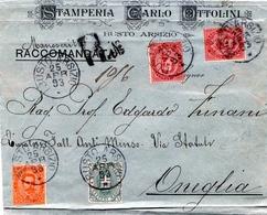 STORIA POSTALE-REGNO D'ITALIA-RE UMBERTO I- RACCOMANDATA-VAL.CAT 25 €-1893-ONEGLIA- - Post