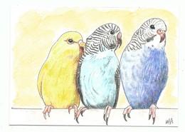 Petite Aquarelle Originale ( Format 10/15 Cm ) Signée - 2 Perruches Et Un Serin Oiseaux - Aquarel