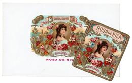 Set Of 2 - Cigar Box Label / Ancienne étiquette Boite De Cigares Gaufrée ROSA De RICA - 3 Scans - Etiquettes