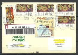 SPAIN Espana 2013 Registered Cover To Estonia With ATM-stamps - 1931-Aujourd'hui: II. République - ....Juan Carlos I