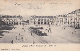 -CUNEO-PIAZZA VITTORIO EMANUELE-CON TRAM IN ARRIVO-CARTOLINA NON VIAGGIATA-ANNO 1900-1904 - Cuneo