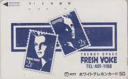 Télécarte Ancienne Japon / 110-011 - TIMBRE - STAMP On Japan Phonecard ** FRESH VOICE ROPPONGI ** - BRIEFMARKE - 92 - Timbres & Monnaies