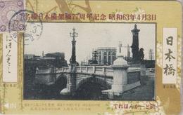 Télécarte Japon / 110-011 - PONT Sur CP & TIMBRE - BRIDGE On Postcard& STAMP - BRÜCKE Auf AK & BRIEFMARKE - 110 - Japon