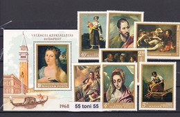1968 ART PAINTING OF SPAIN AND ITALIAN MALERS  Mi 2409-15 + Bl.64A 7v.+S/S-MNH HUNGARY - Hungary