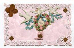 CPA  Fantaisie : Bonne Année Avec Oiseaux Et Trêfle      A  VOIR  !!!!!!! - Fancy Cards