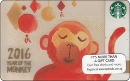 Singapore Starbucks Card Chin New Year - Monkey 2015 - Gift Cards