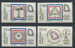 103 URUGUAY 1989 - Yvert 1276/79 - Franc Maconnerie Et Bicentenaire Revolution Francaise - Neuf ** (MNH) Sans Charniere - Franc-Maçonnerie