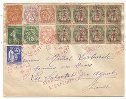 BLANC 1/C2 BLOC DE 8+3CX2+22+4C+ SEMEUSE PAIX LETTRE C.PERLE ROUGE VALROS 5.2.1939 HERAULT - 1900-29 Blanc