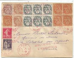 BLANC 1C ARDOISE BLOC DE 6+3C BLOC DE 4+1+4CX2+2C+ SEMEUSE PAIX LETTRE C. PERLE ROUGE VALROS 5.2.1939 HERAULT - 1900-29 Blanc