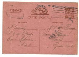 ENTIER IRIS 90C CP Fente +pli PARIS 1940 POUR CERET PYRENEES ORIENTALES + INADMIS - Entiers Postaux