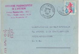 RODEZ ENTREPOT AVEYRON TàD 28-6-1962 Sur CP COMMERCIALE DROGUERIE PHARMACEUTIQUE - Poststempel (Briefe)