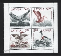 Lettonie – Latvia – Letonia 1992 Yvert 304-07, Fauna, River Birds Of The Baltic – Mini Sheetlet - MNH - Letonia