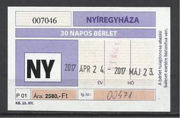 Hungary, Nyiregyhaza, 1 Month Ticket For Retired, 2017 - Week-en Maandabonnementen