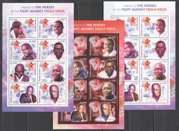 ST2907 2015 SIERRA LEONE HEALTH MEDICINE HEROES IN THE FIGHT AGAINST EBOLA VIRUS 3SH MNH - Disease