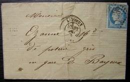 Lisieux 1875 Origine Rurale Le Pré D'Auge Pour La Gare De Bayeux - Postmark Collection (Covers)