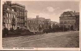 ! Alte Ansichtskarte Amsterdam, Jan Willem Brouwerplein, Straßenbahn, Tramway - Amsterdam
