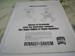 ANCIENNE PUBLICITE VITESSE OU ECONOMIE CAMION SAVIEM  RENAULT 1969 - Trucks