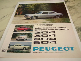 ANCIENNE PUBLICITE  VOITURE 204-304-404-504  PEUGEOT  1969 - Automobili