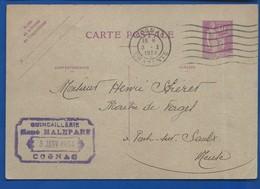 COGNAC   Carte Entier Postale  Avec Cachet Quincaillerie: René MALEPARE   écrite En 1934 - Cognac