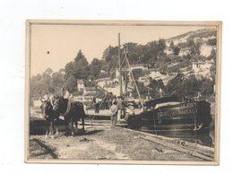 Agen. Canal Et Bateaux. Hallage Avec Cheveaux. Photo Sur Papier Epais Kodak. - Agen