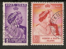 GILBERT AND ELLICE ISLANDS 1949 SILVER WEDDING SET FINE USED Cat £26+ - Îles Gilbert Et Ellice (...-1979)