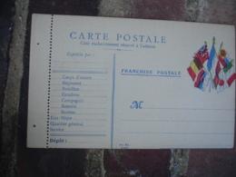 Type Ad Kz 7 Drapeaux Cote Carte Franchise Postale Militaire Guerre 14.18 - Postmark Collection (Covers)