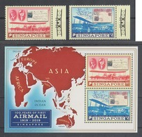 Singapore 2019, 100 Years Of First Airmail Flight 2v + MS,  MNH - Post