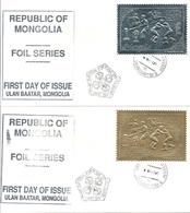 Mongolia (1993) Mi. 2439/40 - 2 FDC  /  Chess - Echecs - Schach - Archery - Horse - Baseball - UNUSUAL Gold Silver - Schach