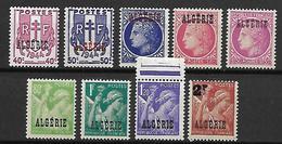 ALGERIE     -     1945 .    Y&T N° 225 à 233 **.   Surchargés - Algeria (1924-1962)