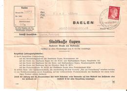 GUERRE 40/45 - Stadtkasse EUPEN Du Burgermeister De BAELEN Du 24/7/1943 TP.12 Pfg. - Brieven